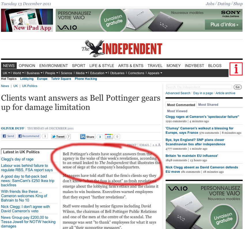 Bell Pottinger sur The Independant